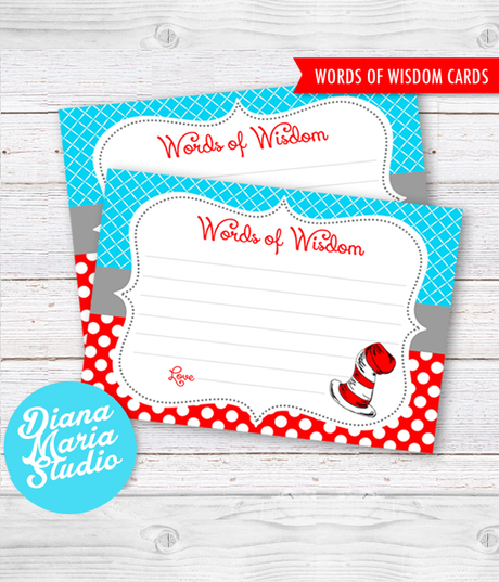 Printable Words of wisdom Dr Seuss Baby Shower Printable Game Dr Seuss Baby shower activity - INSTANT DOWNLOAD
