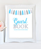 Printable Boy Baby Shower Signs - Welcome sign , Guest book sign, Favors sign - Tassel Blue, Silver - INSTANT DOWNLOAD