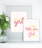 Twinkle Little Star, Rose Gold Baby Shower Birthday Decor, Printable Baby Girl Nursery Wall Art