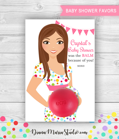 Eos Balm Holder Card Baby Shower Favors Mom to be in polka dots pattern dress - PRINTABLE CARD