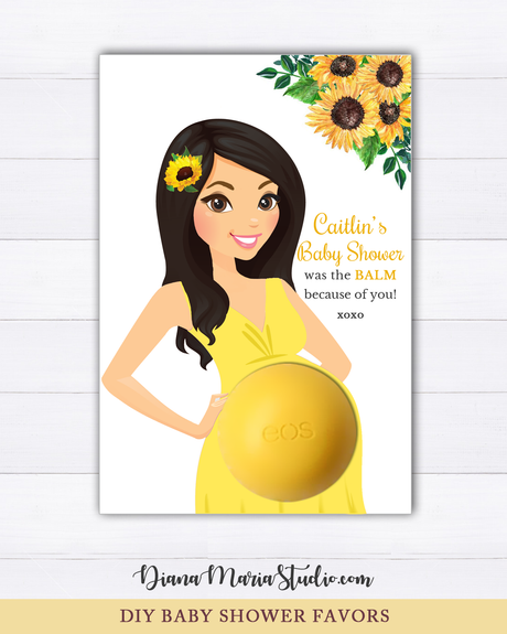 Sunflower Favors Eos Balm Holder Sunflower Baby Shower Favor Card - PRINTABLE