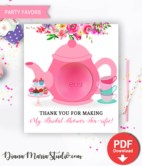 Bridal Shower Favors Tea Party Teapot Eos Balm Holder - INSTANT DOWNLOAD
