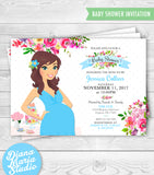 Floral Baby Shower Invitation Custom Mom-to-be illustration - DIY PRINTABLE INVITATION