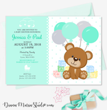 Teddy Bear Blocks Baby Shower Invitation - Boy Baby Shower