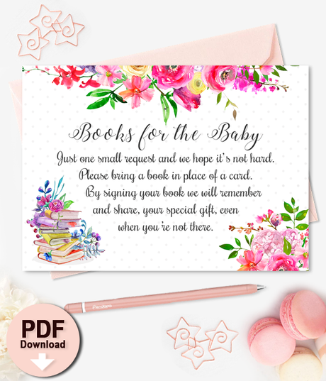 Printable Book Insert Floral Baby Shower - INSTANT DOWNLOAD