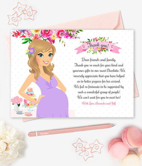 Printable Baby Shower Thank You Cards Floral Personalized Stationery Custom Mom-to-be Illustration