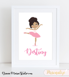 Personalized Ballerina Wall Art Girls Room Decor Ballerina Girl - Printable PDF