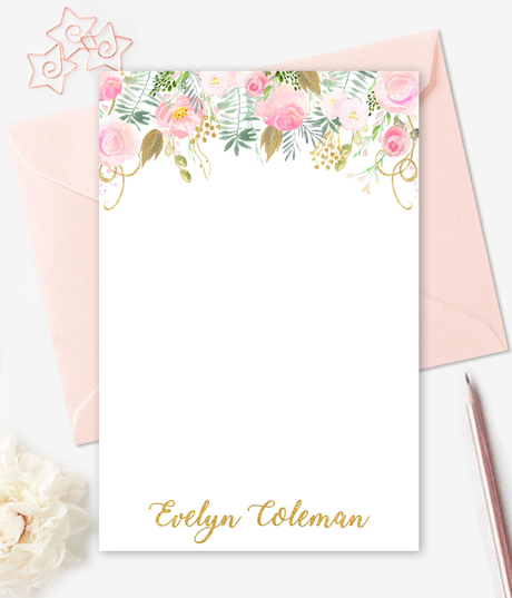 Watercolor Gold Floral Note Cards Personalized Stationery - Printable Card