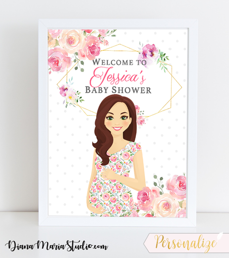 Welcome Sign Baby Shower Floral Modern Geometric Floral Baby Shower Theme - PRINTABLE PDF