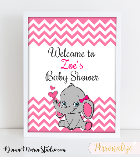 Girl Baby Shower Welcome Sign - Elephant Theme Baby Shower Decoration- It's a girl party -Pink gray chevron pattern - PRINTABLE