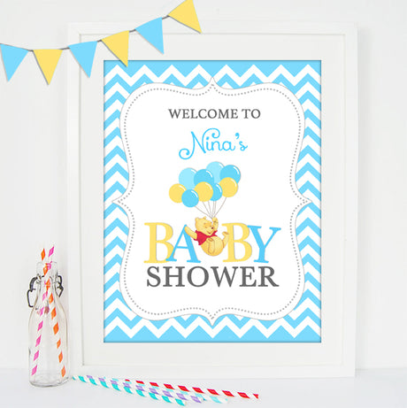 Winnie the Pooh Welcome Sign Baby Shower - PRINTABLE PDF