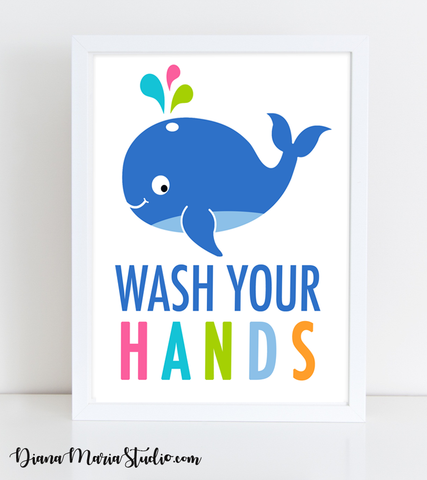 Printable Bathroom Wall Art - Whale Wash your hands - Size 8x10 - INSTANT DOWNLOAD