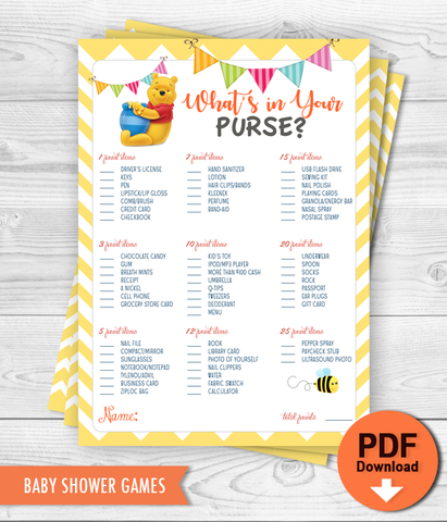 Printable Game Winnie the Pooh - What's in your purse Baby Shower Game - INSTANT DOWNLOAD
