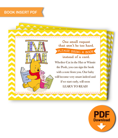 Printable Book Insert Winnie the Pooh Baby Shower - INSTANT DOWNLOAD
