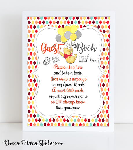 Guest Book Sign Winnie the Pooh Baby Shower - INSTANT DOWNLOAD