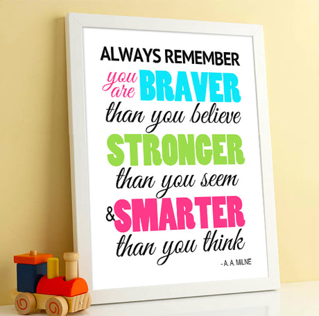 Wall Art Winnie the Pooh Braver than you believe - Printable PDF Download