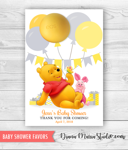 Winnie the Pooh Eos Lip Balm Holder Baby Shower Winnie Favors - PRINTABLE PDF