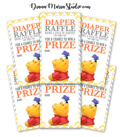 Diaper Raffle Tickets Winnie the Pooh Baby Shower Game Raffle Tickets- INSTANT DOWNLOAD