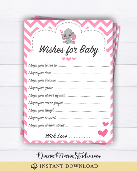 Elephant Girl Baby Shower Wishes for Baby Advice Cards - Printable Baby Shower Games-Chevron pink-INSTANT DOWNLOAD