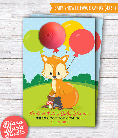 Fox EOS Baby Shower Favors - Mr Fox or Miss Foxy Baby Shower Theme Woodland - PRINTABLE TEMPLATE
