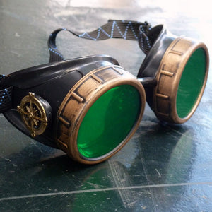 Basic Green Steampunk Goggles - Steampunk Artifacts