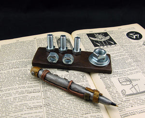 Steampunk Industrial Business Card and Pen Holder - Steampunk Artifacts