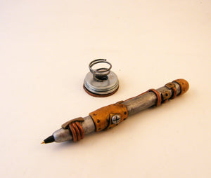 Polymer Clay Steampunk Pen with Industrial Pen Holder - Steampunk Artifacts