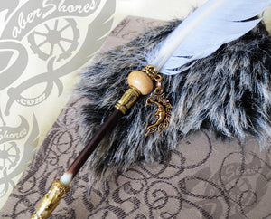 Porcupine Quill White Feather Steampunk Pen - Steampunk Artifacts