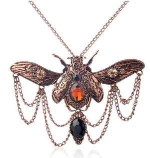 Vintage beetle pendant steampunk necklace - Steampunk Artifacts