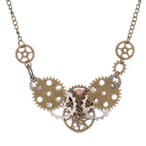 Heart Shaped Gears Steampunk Necklace - Steampunk Artifacts