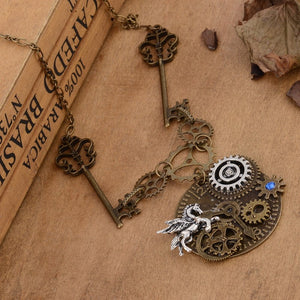 Key And Gears Steampunk Necklace - Steampunk Artifacts