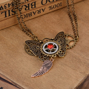 Vintage Butterfly Pendant Steampunk Necklace - Steampunk Artifacts