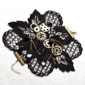 Gears and Lace Steampunk Bracelet - Steampunk Artifacts