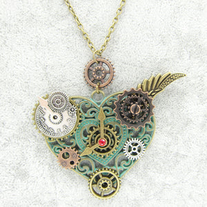 Heart Steampunk Necklace - Steampunk Artifacts