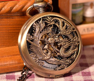Vintage Chinese Flying Dragon vs Phoenix Pocket Watch - Steampunk Artifacts