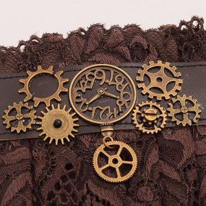 Brown Lace Steampunk Wristband and Bracelet - Steampunk Artifacts