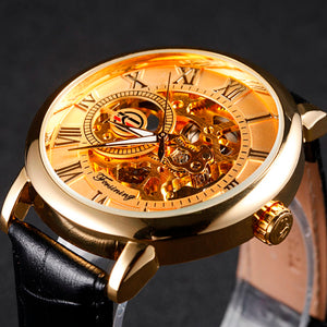 Golden Skeleton Leather Watch - Steampunk Artifacts