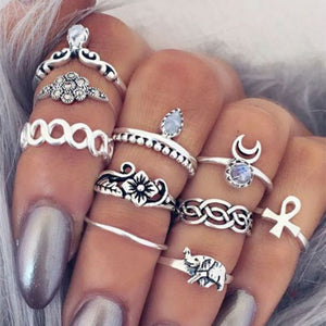 Bohemian Gothic Vintage Midi Rings Set - Steampunk Artifacts