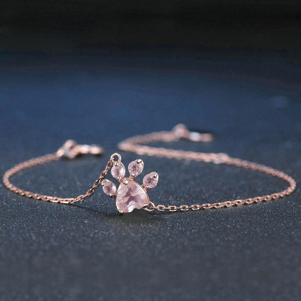 Cutest Paw Cut Created Natural Rose Quartz Bracelet