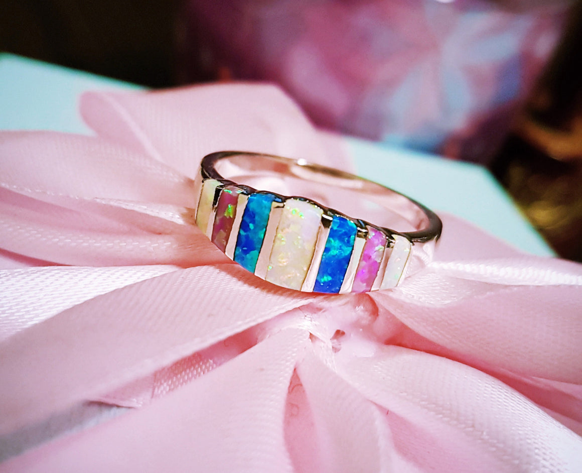 Blue White Pink Fire Opal Ring