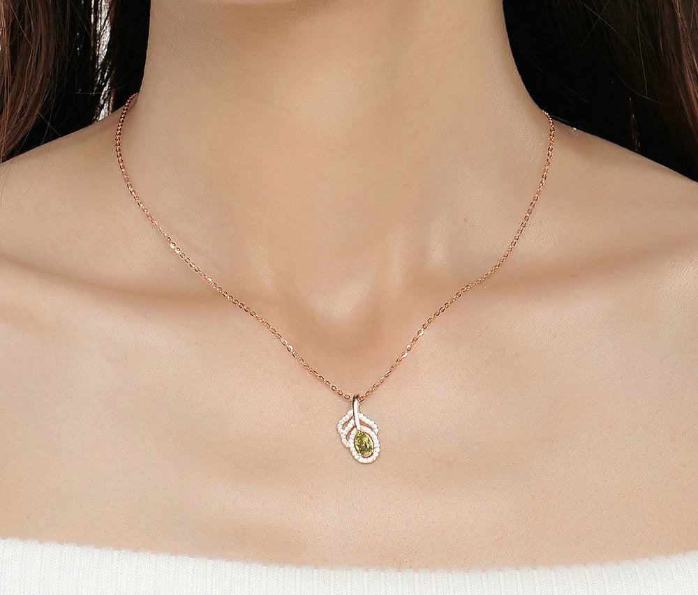 Cutest Leaf Shape Chain Necklace Created By Natural Green Peridot