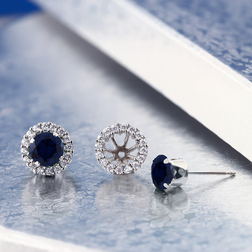 Round Cut Created Blue Sapphire Earrings