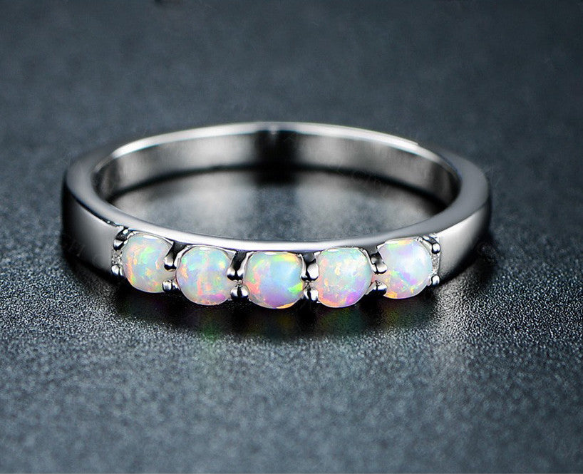 Simple Round Fire Opal Rings