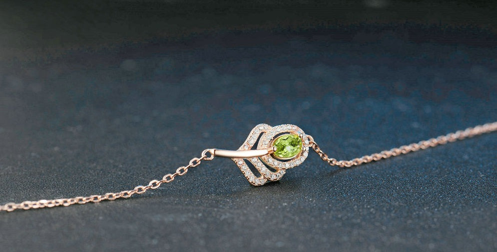 Cutest Leaf Shape Charm Bracelet Created By Natural Green Peridot