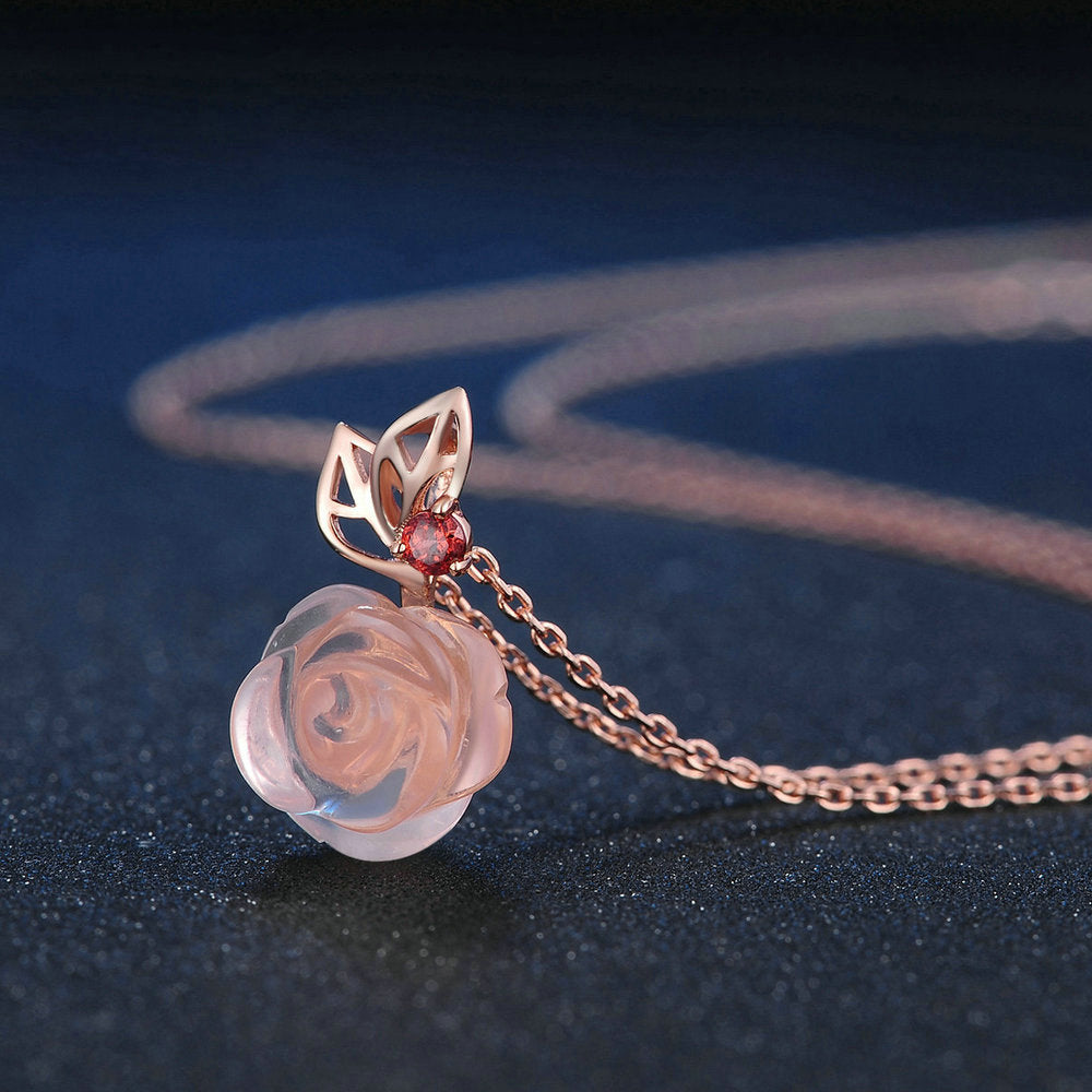 Rose Flower Cut Created Rose Quartz Necklace