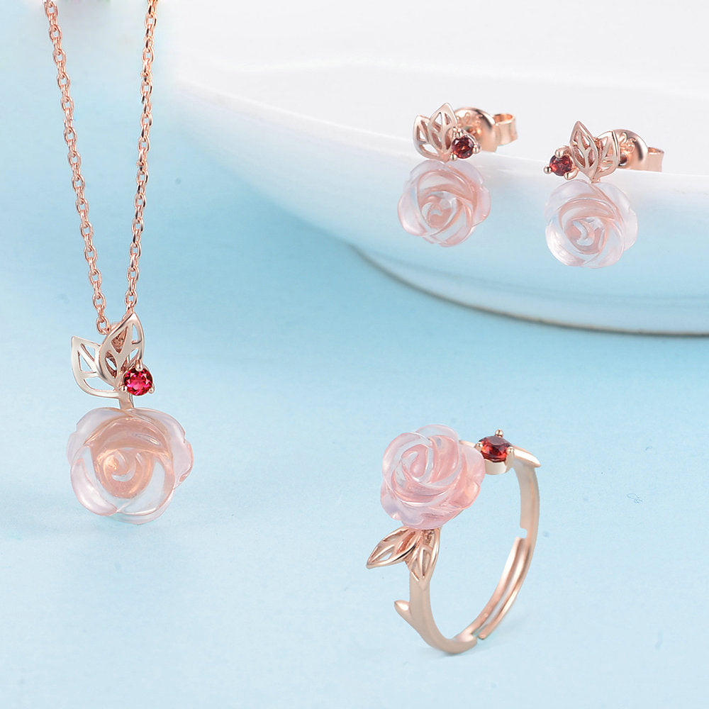 Rose Flower Cut Created Rose Quartz Jewelry Set