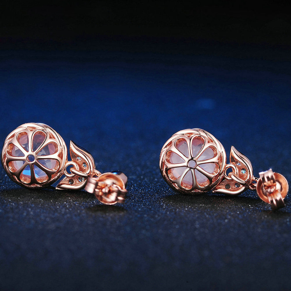 Round Cut Created Pink Rose Quartz Earrings