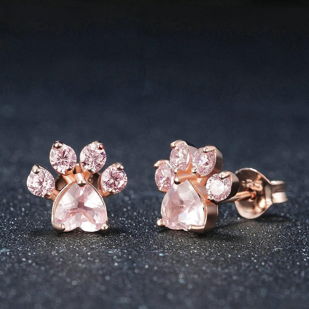 Cutest Paw Cut Created Natural Rose Quartz Earrings