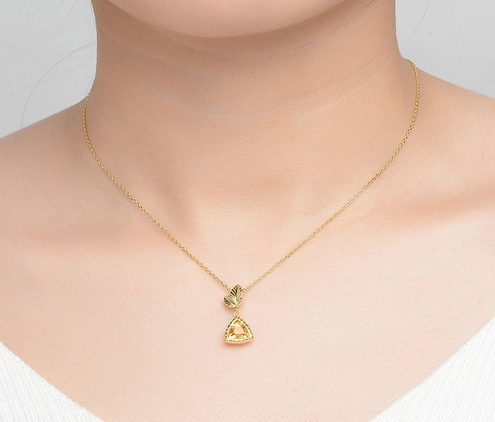 Triangle Cut Created Citrine Necklace