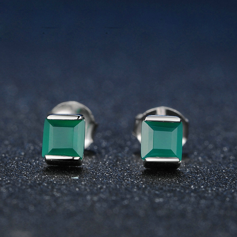 Square Cut Created Green Chalcedony Earrings